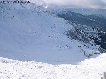 Die Hälfte des Skigebietes befindet sich oberhalb der Baumgrenze!