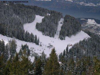 Rund die Hälfte des Skigebietes liegt unterhalb der Baumgrenze!