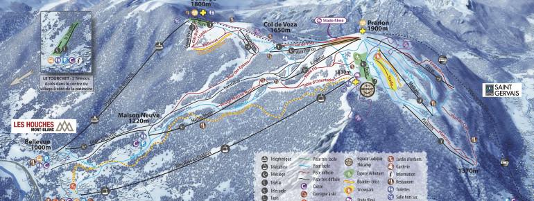 Pistenplan Les Houches (Vallée de Chamonix)