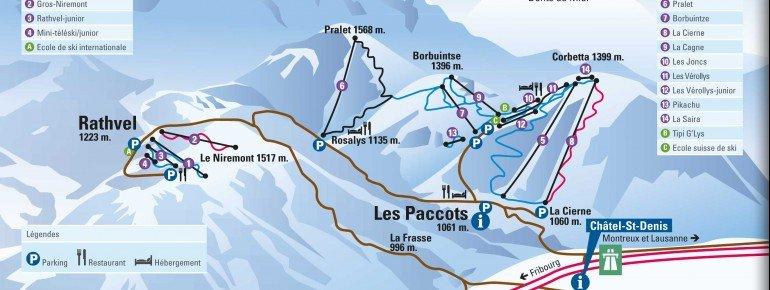 Pistenplan Les Paccots