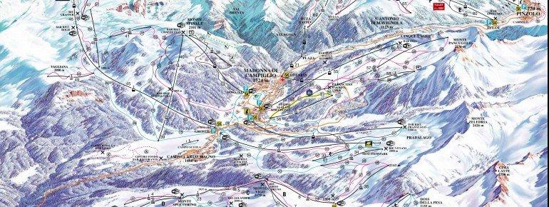 Pistenplan Skiarena Campiglio Dolomiti