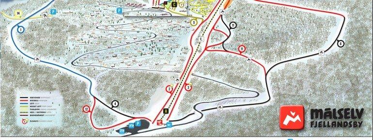 Pistenplan Målselv Fjellandsby