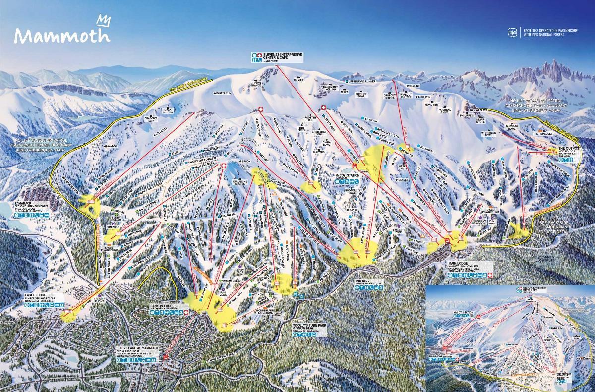 Pistenplan von Mammoth Mountain