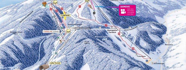 Pistenplan des Skigebiets Mönichkirchen-Mariensee