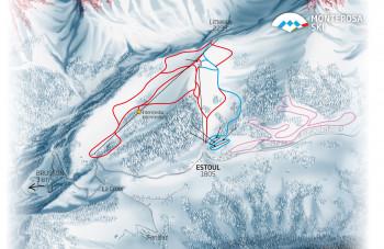 Pistenplan Monterosa Ski: Brusson Estoul