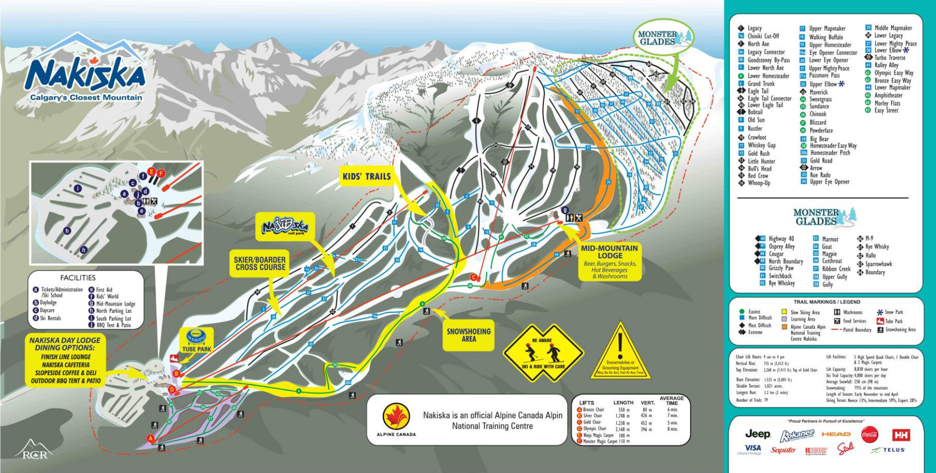 Pistenplan von Nakiska Ski Resort