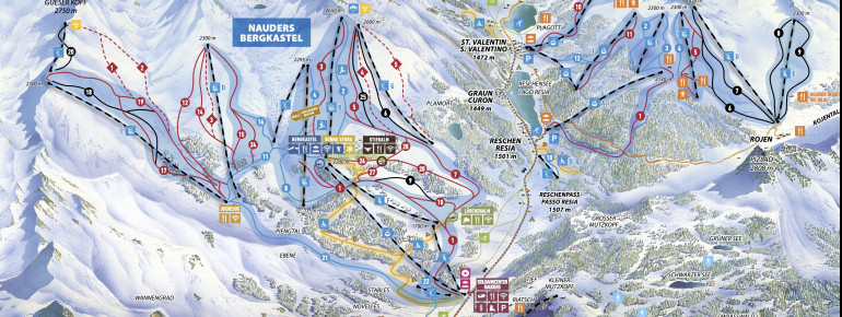 Pistenplan Nauders - Zwei Länder Skiarena