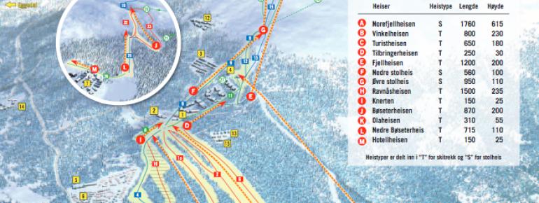 Pistenplan Norefjell