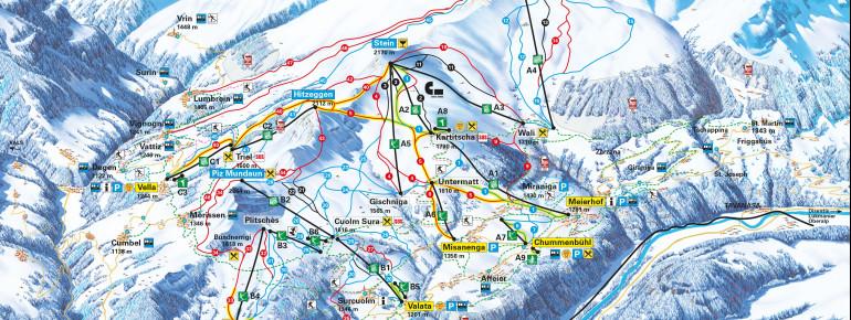 Pistenplan Obersaxen Mundaun Val Lumnezia