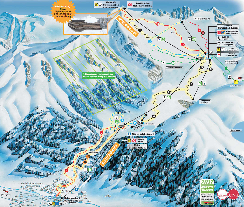Pistenplan Oberstdorf Nebelhorn • Offene Lifte & Pisten • Skipanorama - Oberstdorf Karte Deutschland