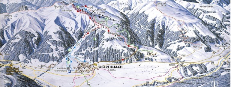 Pistenplan Obertilliach - Golzentipp
