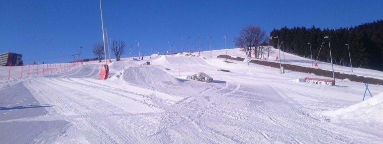 Der Funpark im Skigebiet lässt Freestyler-Herzen höher schlagen