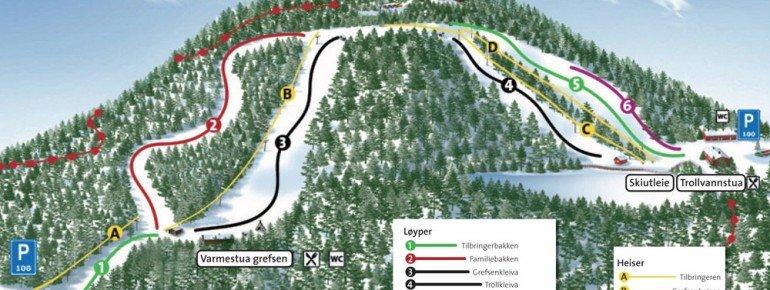 Pistenplan Oslo Skisenter Grefsenkollen