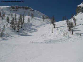Nur leichte Bewaldung im oberen Bereich des Skigebietes.