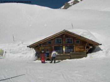 Nicht immer geöffnet: Die kleine Berghütte an der Bergstation der Piste 7.