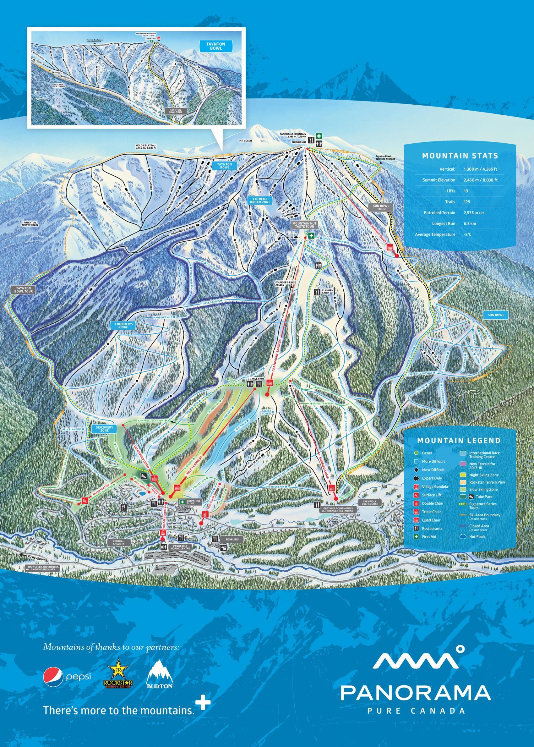 Pistenplan von Panorama Mountain Resort