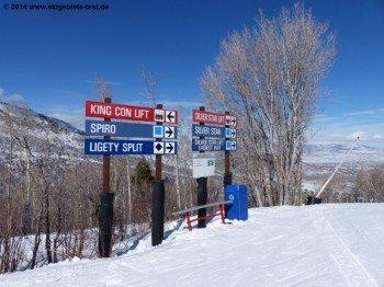 Gute Beschilderungen für eine bessere Orientierung im gesamten Skigebiet.