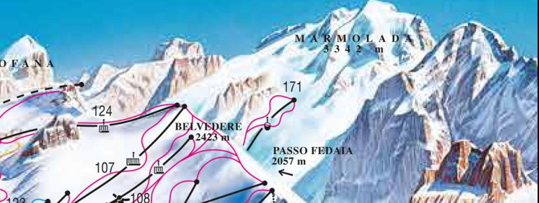 Pistenplan Pian dei Fiacconi (Passo Fedaia - Marmolada)