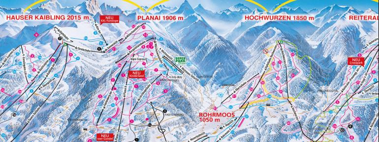 Pistenplan Planai Schladming (4-Berge-Skischaukel)