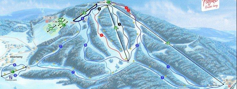 Pistenplan Plesivec (Pleßberg) - Abertamy