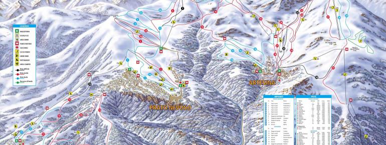 Pistenplan Mondolè Ski (Prato Nevoso - Artesina - Frabosa Soprana)