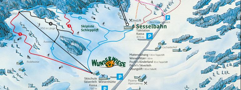 Pistenplan des Skigebiets Puchberg am Schneeberg.
