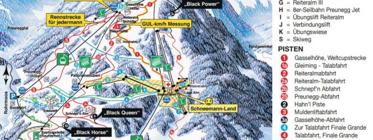 Pistenplan Reiteralm (4-Berge-Skischaukel)