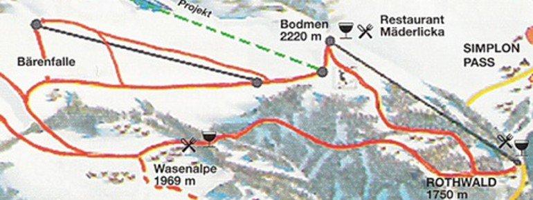 Pistenplan Rothwald Wasenalp am Simplon