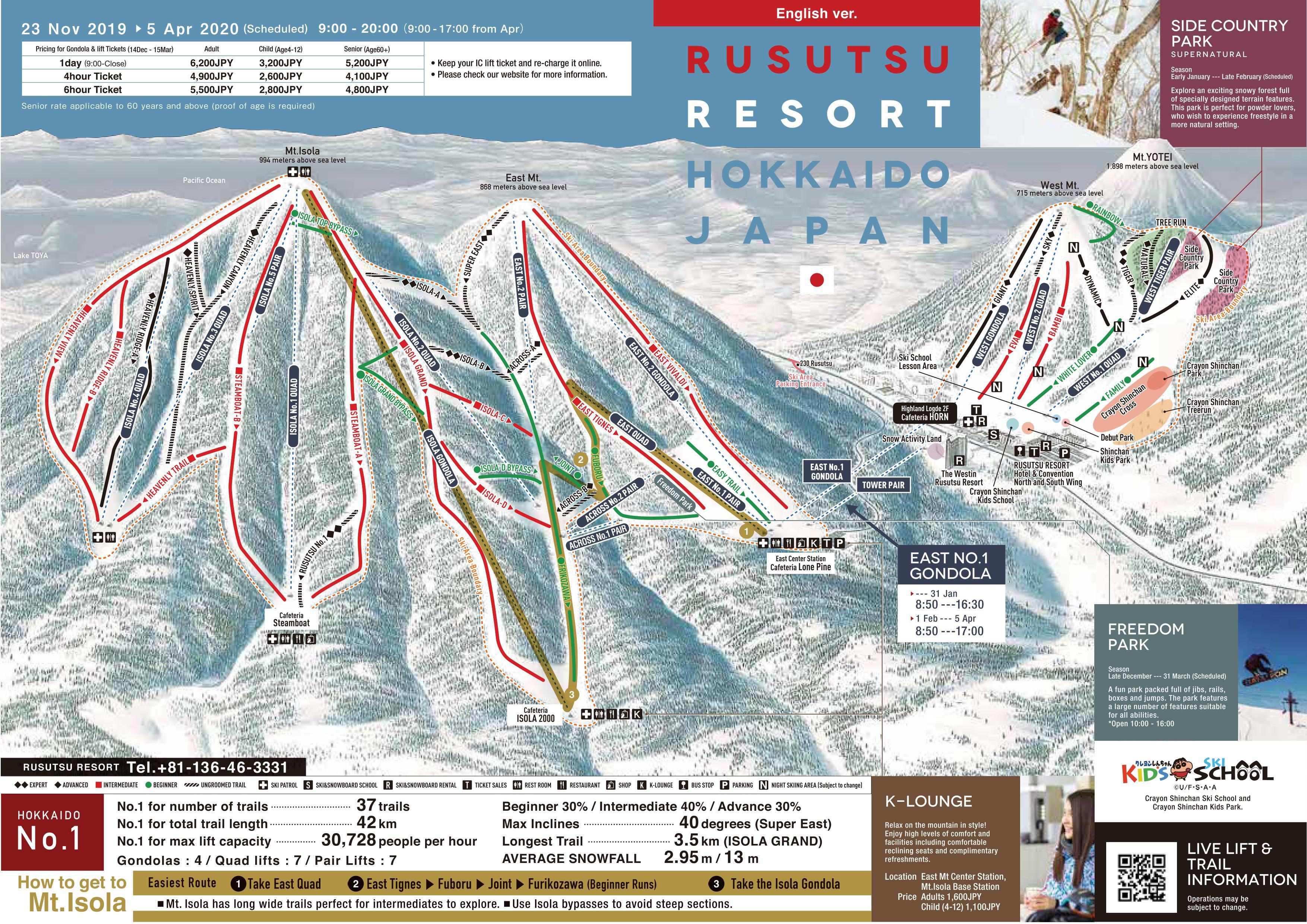 Pistenplan von Rusutsu