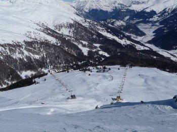 Aussicht auf das Skiareal Schöneben