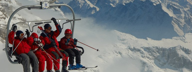 Während der Liftfahrt kann man den Rundumblick auf die Julischen Alpen genießen.
