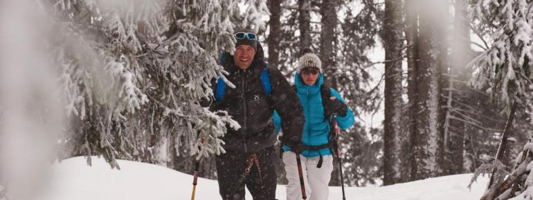 Eine Schneeschuh-Wanderroute führt von Mieders bis auf das 1.878 Meter hohe Jöchl.
