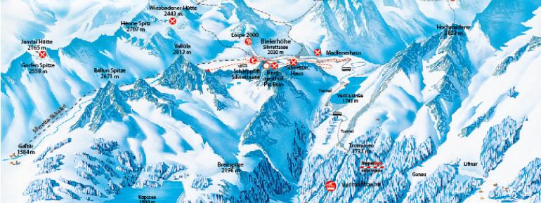 Pistenplan Silvretta-Bielerhöhe