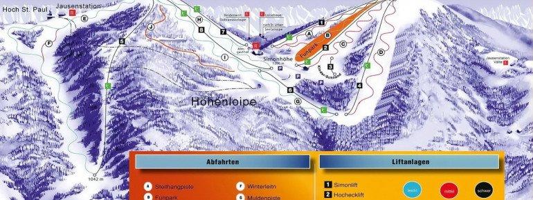 Pistenplan Simonhöhe bei Sankt Urban
