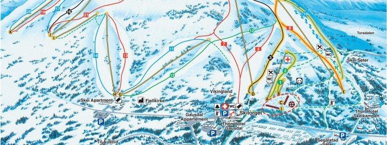 Pistenplan Skeikampen - Gausdal