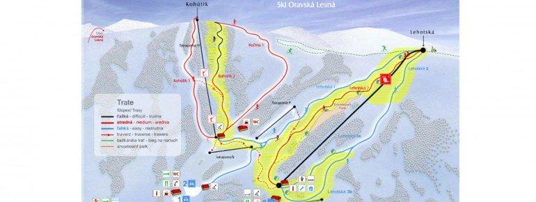 Pistenplan Ski Oravska Lesna