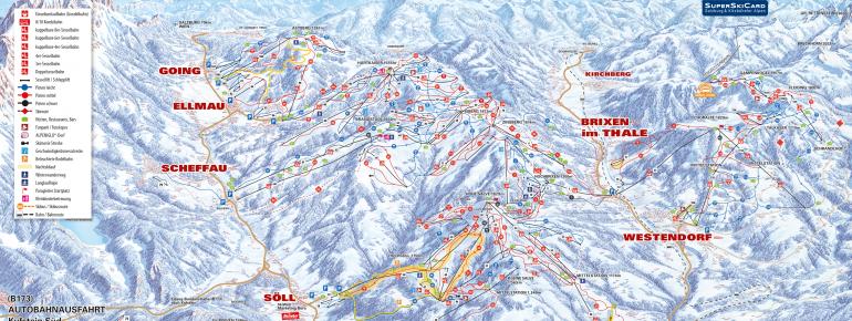 Pistenplan SkiWelt Wilder Kaiser - Brixental