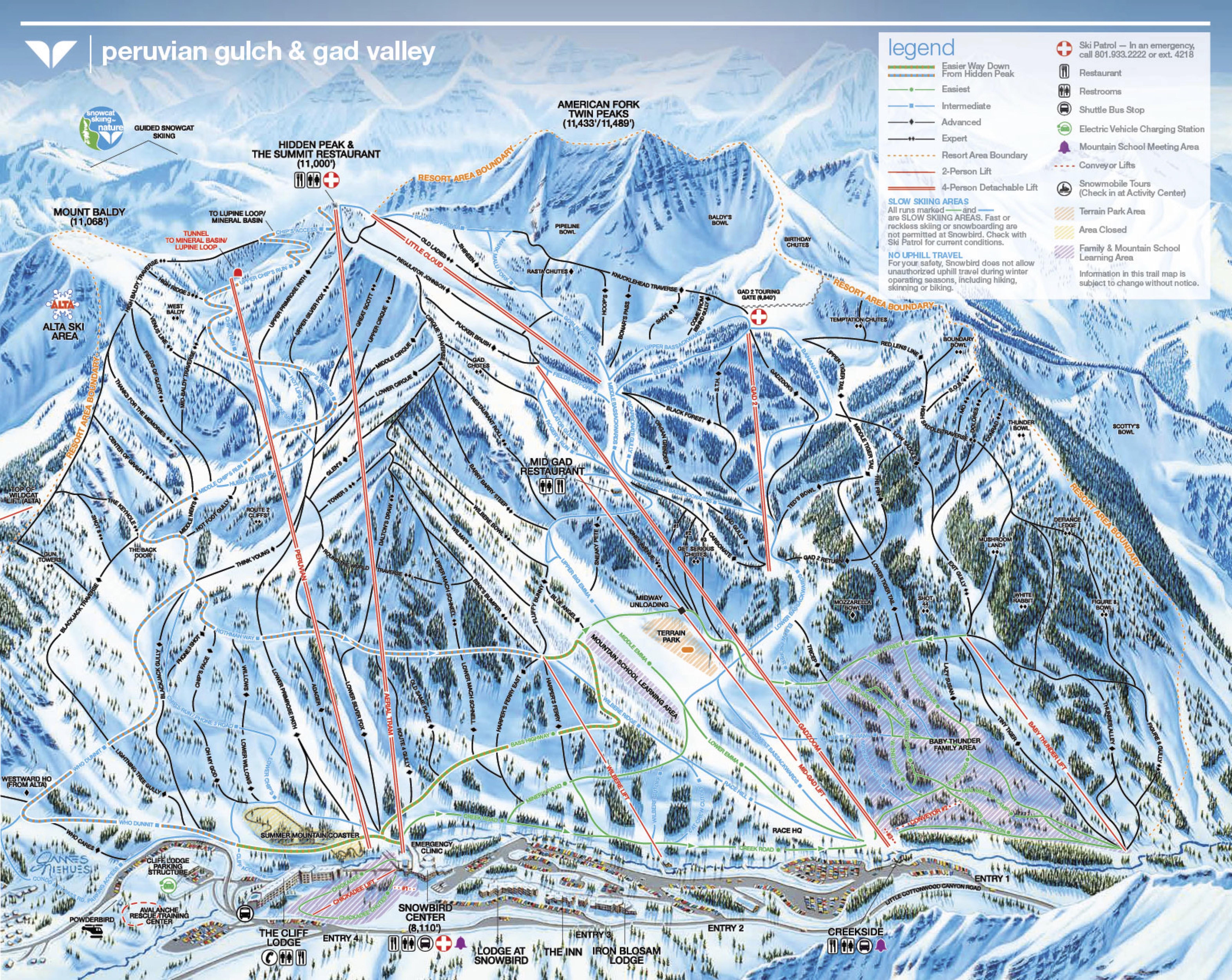 Pistenplan von Snowbird