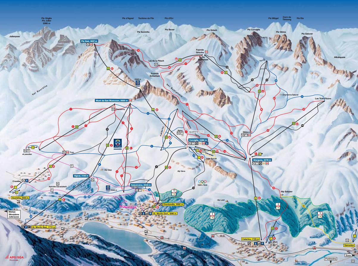 Pistenplan von St. Moritz - Corviglia