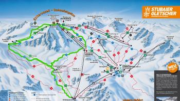 Die leichte Skirunde (grün markiert) rund um die Schaufelspitze