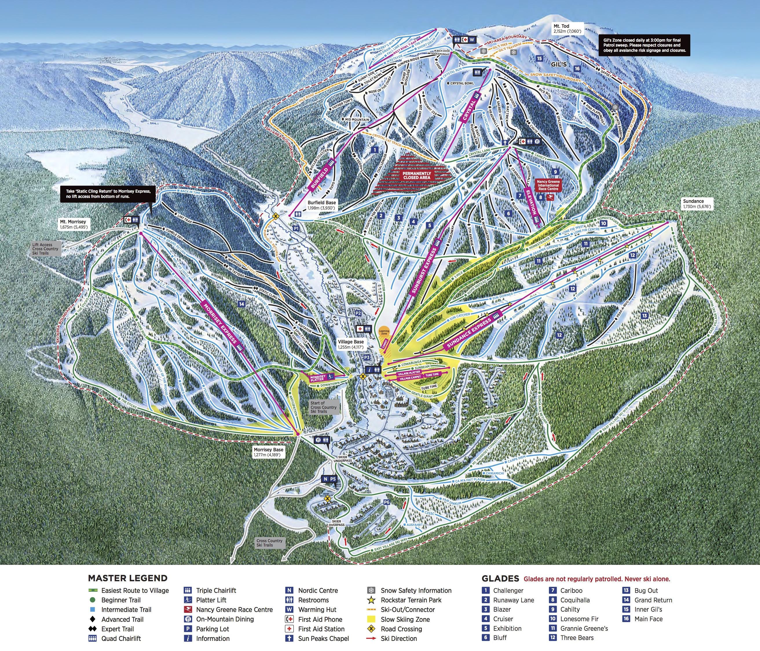 Pistenplan von Sun Peaks Resort