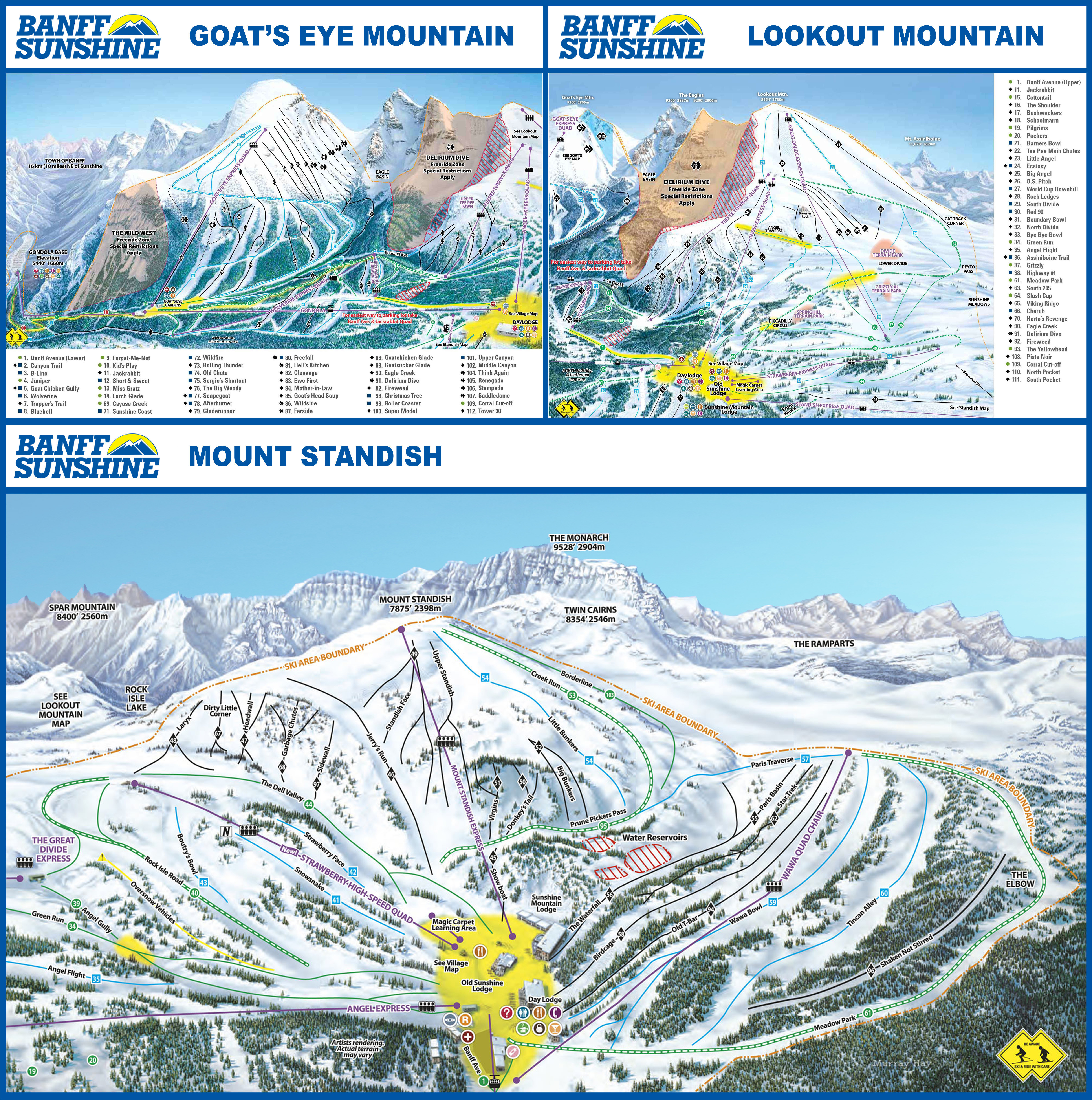 Pistenplan von Sunshine Village - Banff National Park