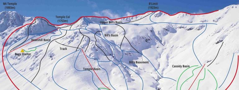 Pistenplan Temple Basin Ski Field