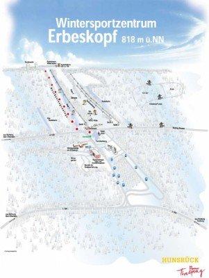 Pistenplan des Skigebiets Thalfang Erbeskopf, Rheinland-Pfalz.