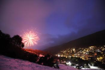 Feuerwerk über der Stadt.