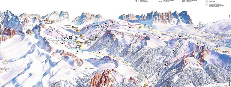 Pistenplan Alpe Lusia - Passo San Pellegrino