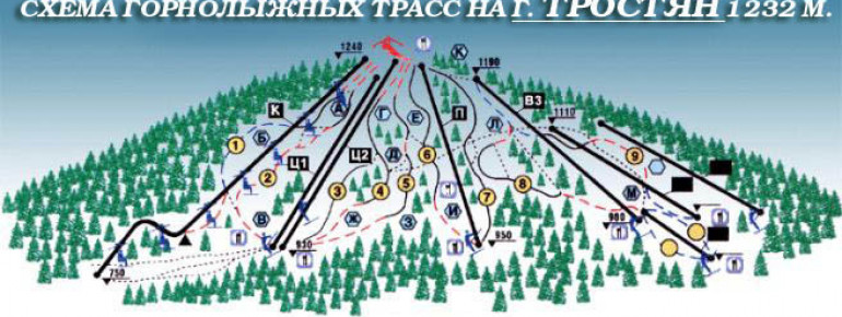 Pistenplan Trostyan Mountain