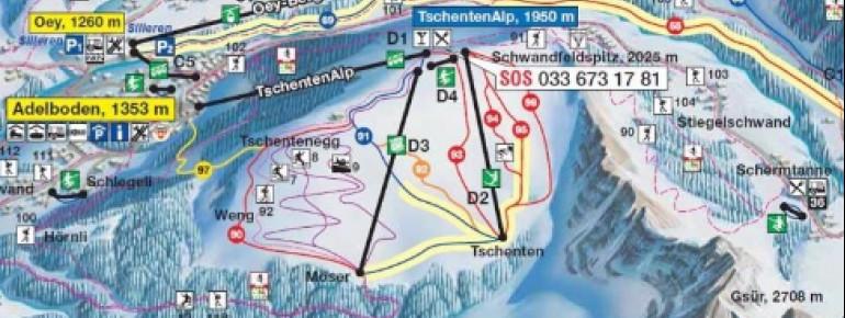 Pistenplan Tschentenalp Adelboden