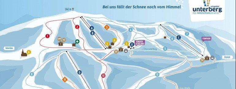Pistenplan des Skigebiets Unterberg