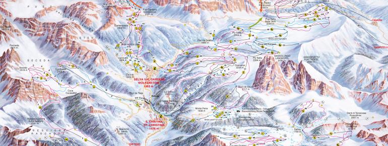 Pistenplan Val Gardena – Gröden